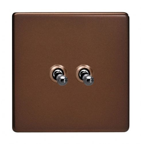 Varilight XDMT2S Screwless Mocha 2 Gang 10A 1 or 2 Way Toggle Light Switch